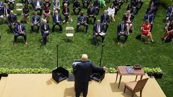 Verfügt begrenzte Polizeireform: US-Präsident Donald Trump wendet sich im Rosengarten des Weissen Hauses in Washington an die Medien.