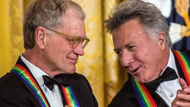 Kennedy-Preisträger Letterman (l.) und Hoffman beim Empfang im Weissen Haus
