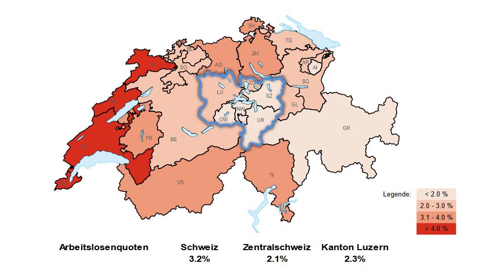 Arbeitslosenquote Schweiz und Zentralschweiz