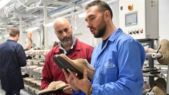 Festanstellung dank Arbeitsmarktreform in Italien: Arbeiter in der Schuhfabrik von Tod's in Arquata del Tronto.