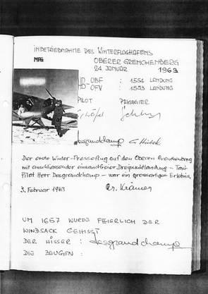 Gästebucheinträge mit Winterlandungen aus dem Jahr 1963