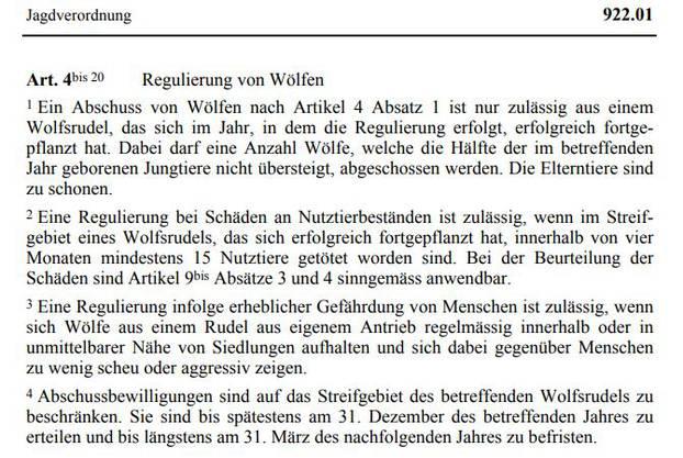 Dieser Abschnitt aus der Jagdverordnung des Bundes beschreibt die Regulierung von Wölfen.