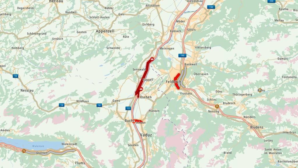 Von St.Margrethen in Richtung Sargans gab es gleich zwei Unfälle.