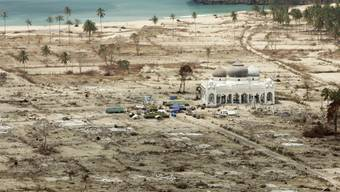 Zerstörtes Dorf bei Banda Aceh nach dem Tsunami Ende 2004