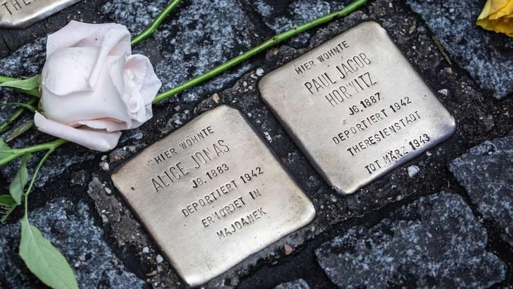 Anlässlich des 75. Jahrestages der Befreiung des Konzentrationslagers Auschwitz-Birkenau in der Dresdner Straße in Berlin wurden Blumen um die Stolpersteine gelegt.