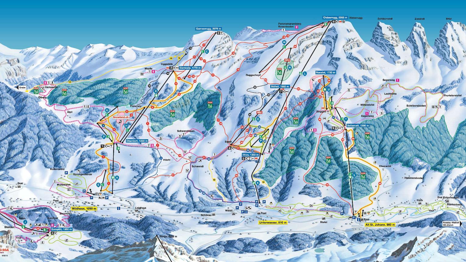 Skigebiet Toggenburg ganzes