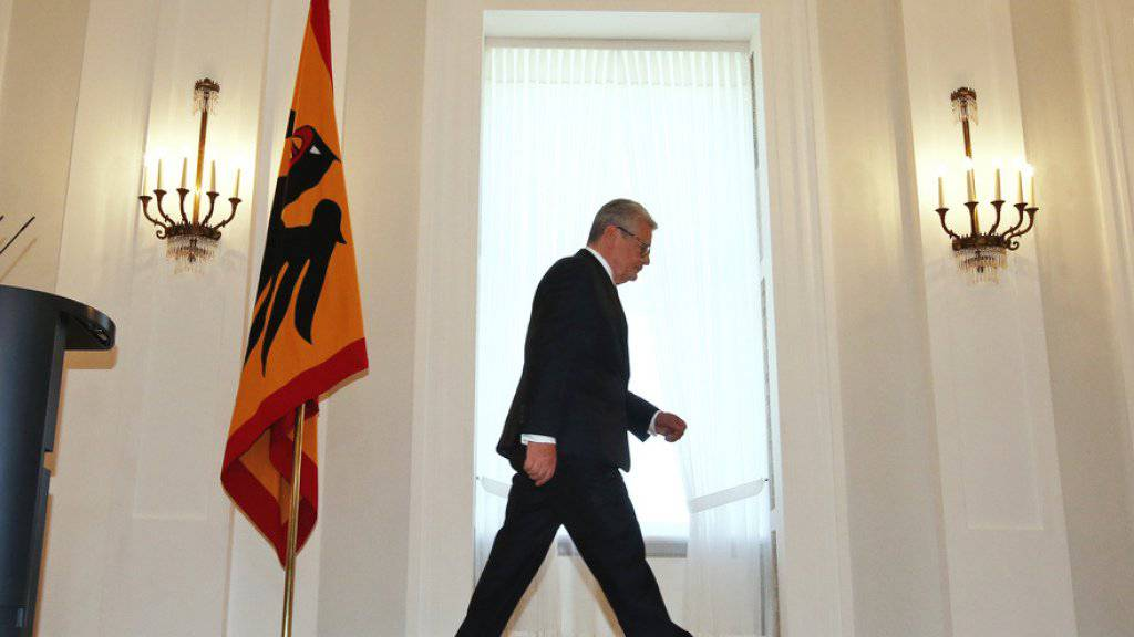 Joachim Gauck nach der Ankündigung seines Abgangs am Montag in Berlin.