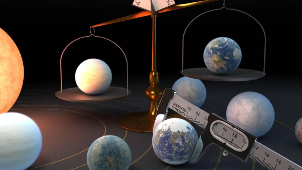 Künstlerische Darstellung des Trappist-1-Planetensystems: Das System beherbergt die grösste Ansammlung von etwa erdgrossen Planeten, die gemäss einer neuen Studie erstaunlich ähnliche Dichten aufweisen.