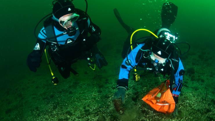 Tauchlehrer Markus Matt sammelt Müll vom Seegrund ein.