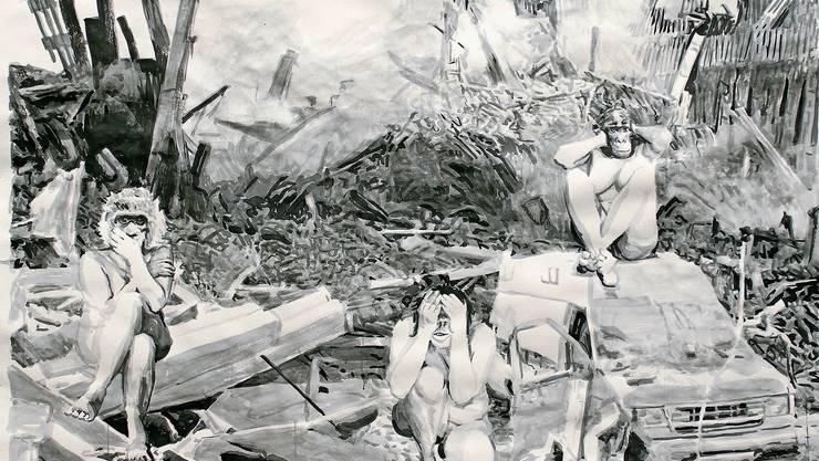 Hochaktuell und imponierend gross: die Tuschezeichnung «Stadtguerilla» von Pat Noser.