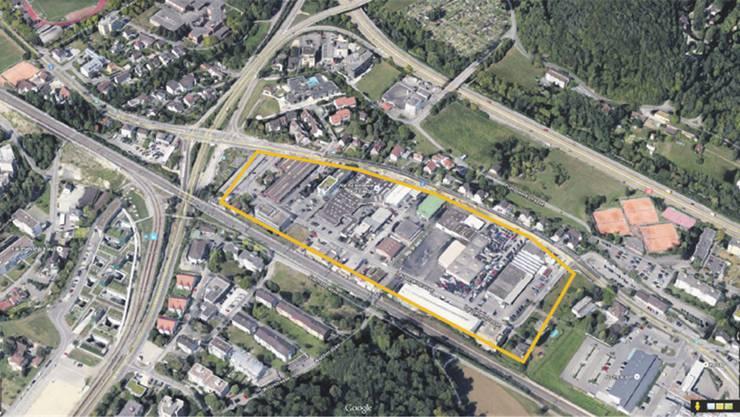 Auf der Homepage der Baselbieter Wirtschaftsförderung wird das Liestaler Altmarktareal mit 47500 m2 beworben. Die Ansicht in «Google Earth» zeigt aber bloss ein bereits dicht überbautes Gewerbegebiet. ZVG/Google Earth