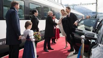 Roter Teppich für den Staatsgast: Bundespräsident Ueli Maurer begrüsste im April 2019 in Sargans Erbprinz Alois sowie Sophie von und zu Liechtenstein.