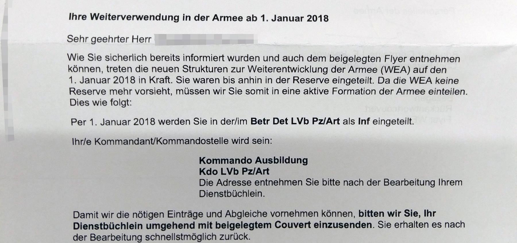 Dieser Brief hat bei manch einem Soldaten für Verwirrung gesorgt.