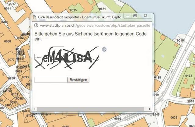 Beim Stadtplan setzt Basel auf einen «Captcha»-Schutz. Die Methode ist auch beim e-Kantonsblatt eine Option. «Problemlos knackbar», sagt der Experte. .bs.ch