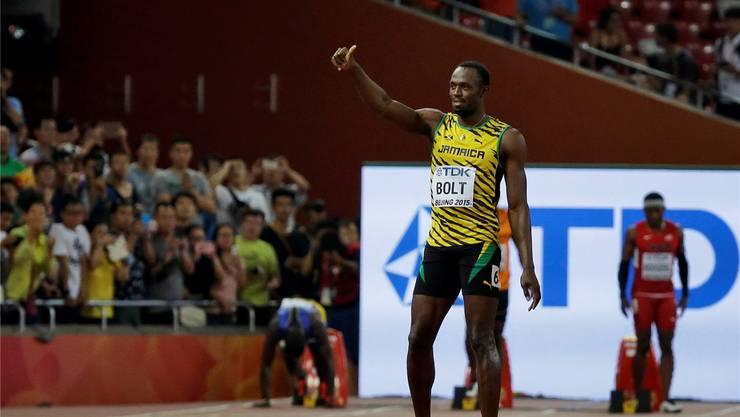 Daumen hoch: Usain Bolt strebt heute seine neunte WM-Goldmedaille an.