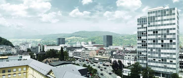 Das Projekt besteht aus  einem 19- (Norden) und einem 16-geschossigen (Osten) formal zurückhaltendem Glashaus. Die Erschliessungskerne sind unüblicherweise dezentral angeordnet, sodass in den Bürogeschossen offene Freiflächen entstehen, was statisch gesehen zu gross-zügigen Spannweiten führt. Dieses Nutzungskonzept wurde diskutiert und gewürdigt, wird für die vorgesehene Nutzung jedoch als nachteilig betrachtet. (rr) agps architecture ltd, Zürich