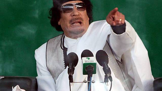 Gaddafi bei seinem Aufruf zum Dschihad gegen die Schweiz