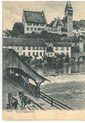 1905 erhielten Josef Groth und C. Weber in Neuchâtel diese Postkarte aus Bremgarten.