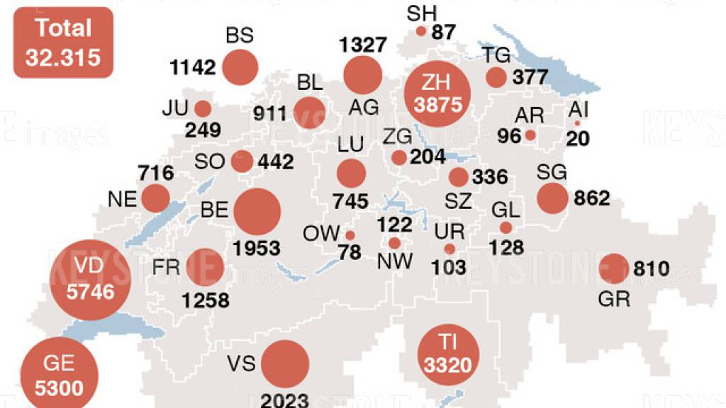 Die Grafik zeigt die von den Kantonen bestätigten Fälle von Corona-Infektionen am 6. Juli.