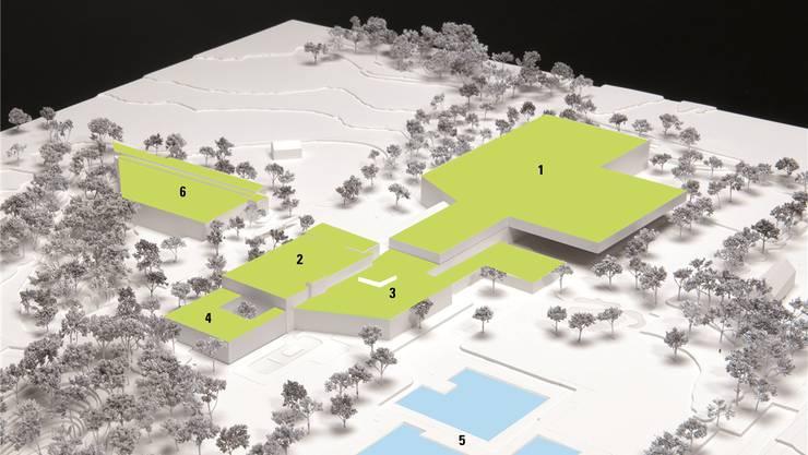 Eis- und Banketthalle und überdecktem Eisfeld (1), bestehenderTägisaal (2), bestehendes Hallenbad mit Ausbauten(3), Wellnessbereich mit Sauna (4), Schwimmbecken Gartenbad (5), bestehende Spiel- und Sporthalle (6).