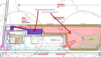 Aufsichtsplan der Kläranlage mit dem neuen Überlaufbecken (blau) und der Retentionsmulde (rot).