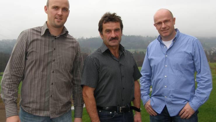 Daniel Regez, Guido Hufschmid und Werner Humbel (von links) wollen den Energie- und Recyclingpark in Niederwil gemeinsam erstellen. (Bild: Jörg Baumann)