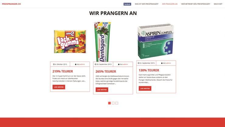 Auf seiner Website vergleicht Marcel Dobler die Preise einzelner Produkte in der Schweiz und im Ausland.