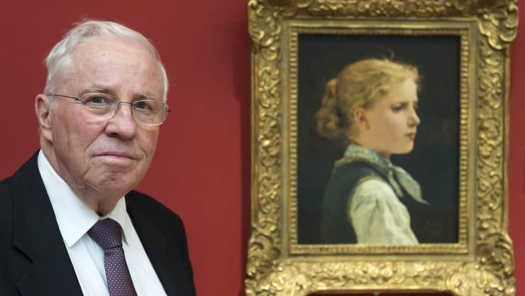 """Christoph Blocher, alt Bundesrat, präsentiert das Lieblingsbild """"Bildnis eines Mädchens, 1886, von Albert Anker (1831-1910)"""" ."""
