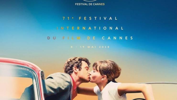 """Mit einer Szene aus seinem Film """"Pierrot le fou"""" (1965) hat es der Schweizer Regisseur Jean-Luc Godard aufs Plakat des Filmfestivals von Cannes geschafft. Ob er mit seinem neuesten Film auch im Wettbewerb mitrittert, erfährt man morgen."""