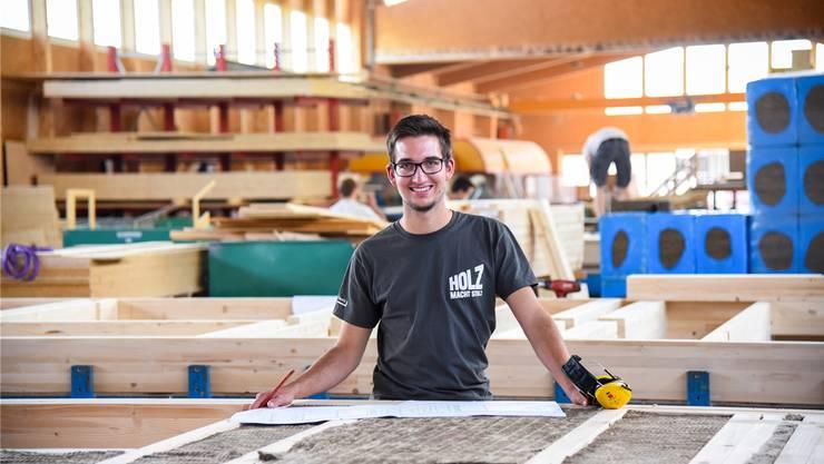 André Friedli arbeitete beim Bau des schweizweit ersten Hochregallagers aus Holz mit.