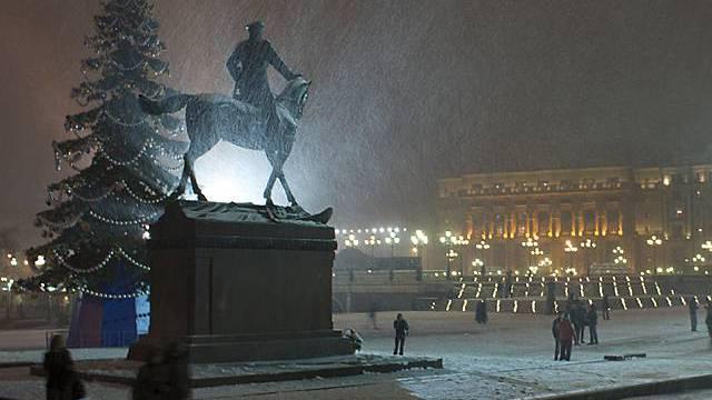 Künftig weniger Schneefall in Moskau (Archiv)