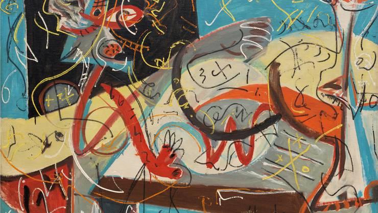 Jackson Pollock hat eine Malweise entwickelt, mit der er sich selbst überraschen konnte und die Betrachter im Ungewissen lässt. Zeigt «Stenographic Figure» (um 1942) einen Maler mit Modell? MoMA, N.Y./ProLitteris