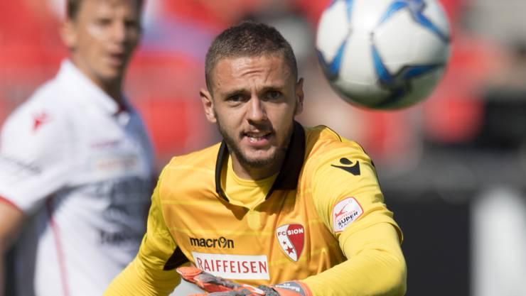 Gab gegen Lugano beim 0:1 nach weniger als vier Minuten eine denkbar schlechte Figur ab: Sions neuer Goalie Anthony Maisonnial