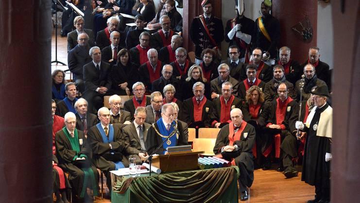 Ein Hauch von Hogwarts: Uni-Rektor Antonio Loprieno mit der Rede am Dies academicus.