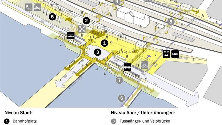 So soll der Bahnhof Olten einmal aufgebaut sein.