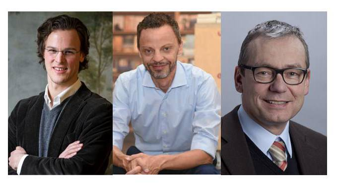 Bastien Girod, Grüne (links), Hans-Ueli Vogt, SVP (mitte), Ruedi Noser, FDP (rechts)
