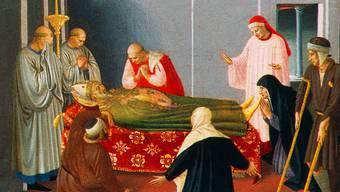 Nikolaus' Tod und Himmelfahrt von Fra Angelico, Perugia, um 1440. (Ausschnitt)
