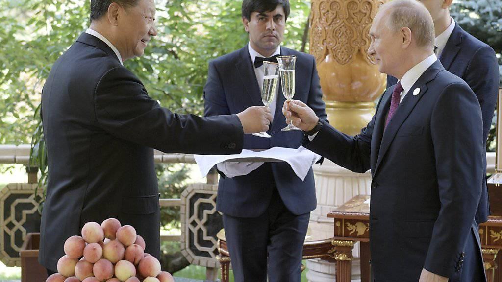 Chinas Präsident Xi Jinping stösst mit dem russischen Präsidenten Wladimir Putin auf seinen Geburtstag an.