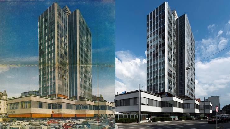 Das eben fertig erstellte Tagblatthaus im August 1969 und 50 Jahre danach.
