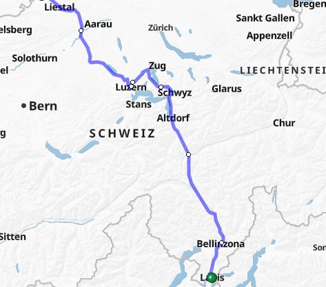 Auf der Strecke Lugano/Erstfeld–Basel SBB (siehe blaue Linie) fallen die Züge zwischen Olten und Basel aus.