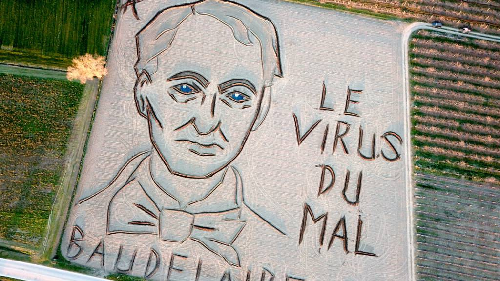Riesiges Konterfei von Dichter Baudelaire in italienischem Acker