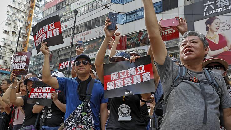 Die Demonstranten in Hongkong fordern eine unabhängige Untersuchung der Polizeigewalt.