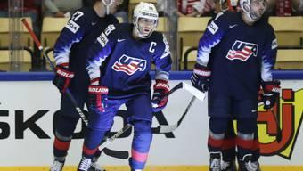 Patrick Kane, mit dem C auf der Brust, führte die USA gegen Deutschland zum Sieg