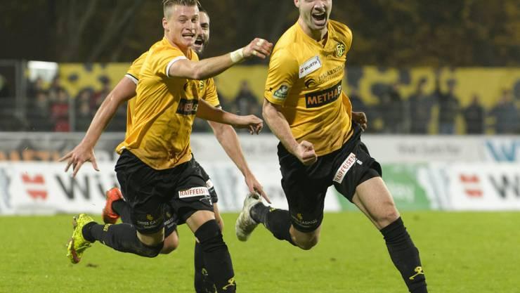 Freuen sich über den sechsten Heimsieg: Ezgian (links) und 2:0-Torschütze Bicvic