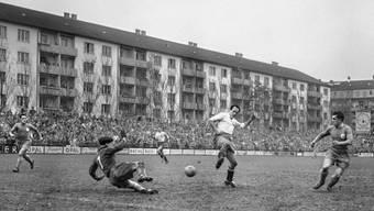 Ein Testspiel der Schweizer Nationalmannschaft im Landhof im Jahre 1956