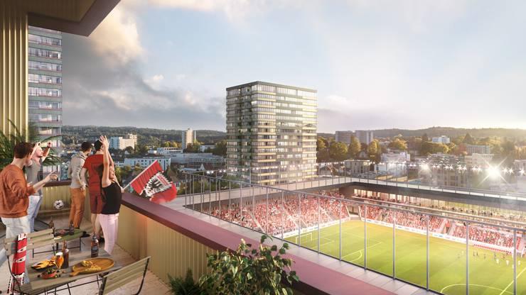 Hier ist zum Beispiel der Blick von der Gemeinschaftsloggia im Hochhaus B ins neue Stadion zu sehen.