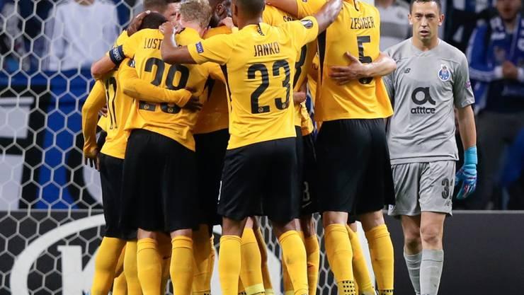 Auch die Young Boys der Saison 2019/20 jubeln. Aber sieben Mal werden sie es im Match gegen Basel wohl nicht mehr tun können