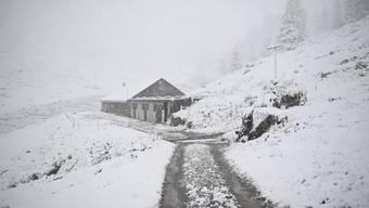 Erster Schnee auf der Alp Kohlschlag ob Mels SG.