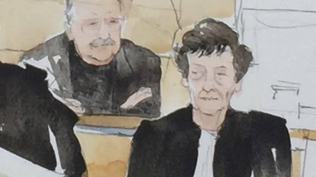 Der international bekannte Terrorist Carlos ist in Frankreich zu lebenslanger Haft verurteilt worden. Auf der Gerichtszeichnung sieht man den Verurteilten (links) mit seiner Anwältin.