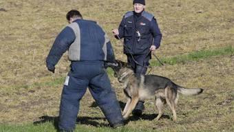 Baselbieter Polizisten bei einer Polizeihunde-Prüfung.
